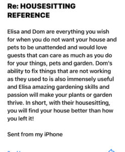House Sitting Reference